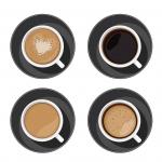 فنجان قهوه، اسپرسو، لاته و کاپوچینو