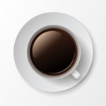 فنجان و نعلبکی سفید با قهوه