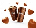 موکاپ لیوان قهوه با شکلات قلبی